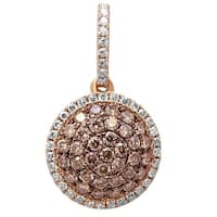 Prism Jewel 0.41Ct Brown Color Diamond With Natural Diamond Round Shaped Pendant - White G-H
