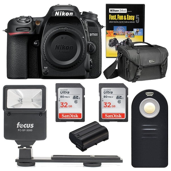 Nikon D7500 DSLR Camera Body with Nikon Bag and 64GB Accessory Bundle
