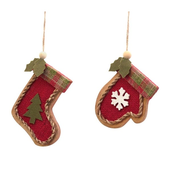 Pack of 12 Red and Green Stocking and Mitten Christmas Ornaments 4""