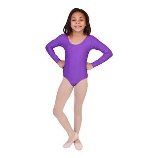 Girls Purple Solid Color Long Sleeved Dancewear Leotard
