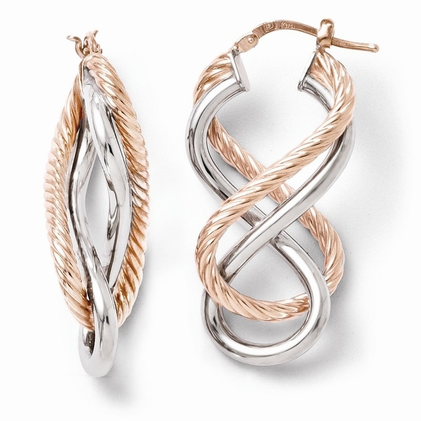 Italian Sterling Silver Rose Gold-plated Hinged Earrings