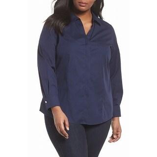 Foxcroft Blue Navy Women's Size 14W Plus Split-Neck Button Blouse