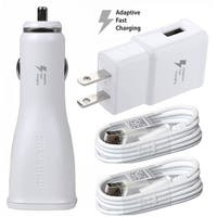 T-Mobile Samsung Galaxy Adaptive Fast Car and Wall Charger with Micro 2 Micro USB cables for Samsungs S6, S7, Note 4/5