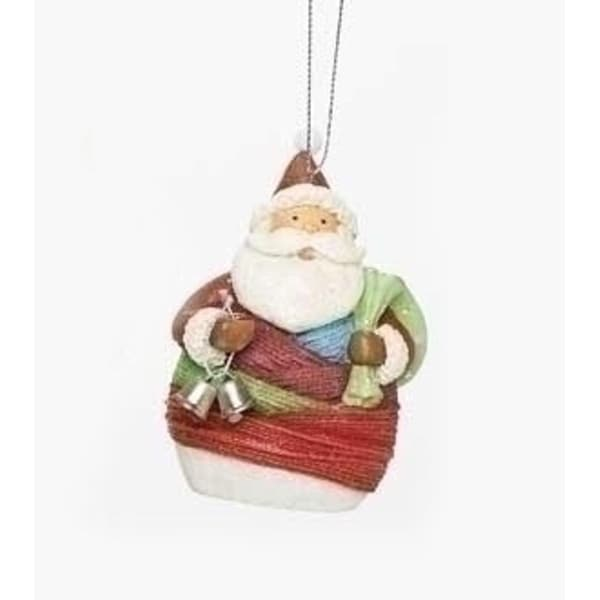 "4"" Vibrant Colorful Striped Yarn Wrapped Santa Claus with Gift Sack Christmas Ornament"