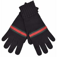 Gucci Men's 294732 BLACK Green Red Web Stripe Wool Gloves Mittens LARGE