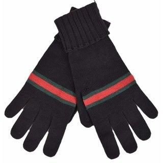 Gucci Men's 294732 BLACK Green Red Web Stripe Wool Gloves Mittens XL