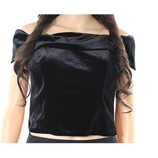 Eliza J Black Womens Size 14 Velvet Off-Shoulder Zip-Up Crop Top