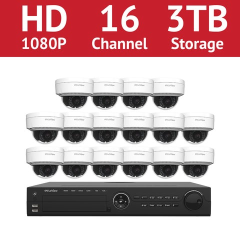 LaView 16 Channel 1080p IP NVR with (16) 1080p Dome Cameras and a 3TB HDD