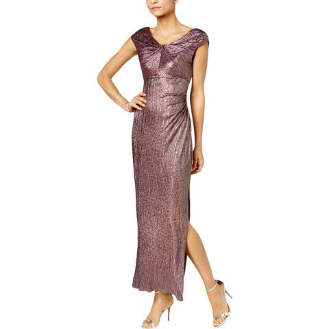 Connected Apparel Womens Petites Cocktail Dress Shimmer Midi