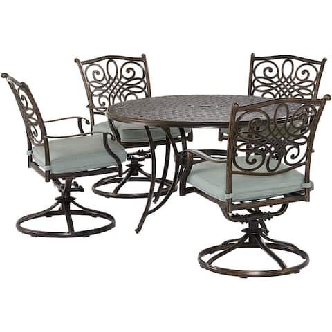 Agio Renditions 5-Piece Set with 4 Swivel Rockers and 48-in. Cast-Top Table, Featuring Sunbrella® Fabric in Mist Blue