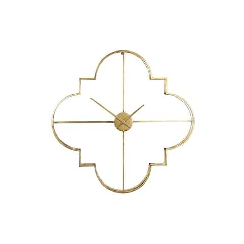 Brass Quatrefoil Shaped Metal Clock with Open Face