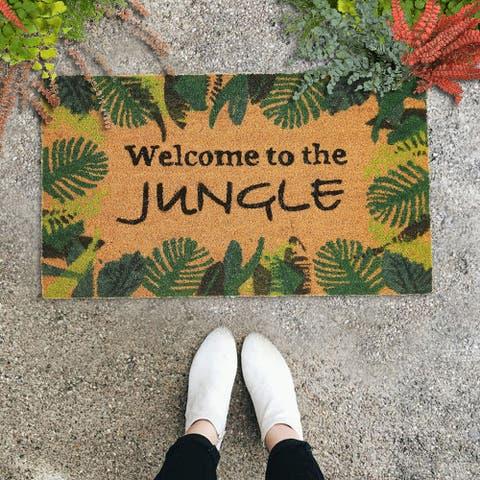"GAURI KOHLI Natural Coir Doormat - Welcome to the Jungle (30"" X 18"")"