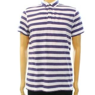 Calvin Klein NEW Purple White Mens Size Medium M Striped Polo Shirt