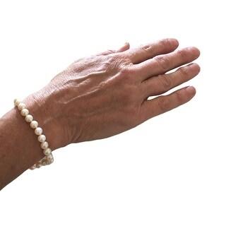 "eli k Womens Sterling Silver 6-6.5 Fresh Water Hand Knot Pearl 7.5"" Bracelet - White"
