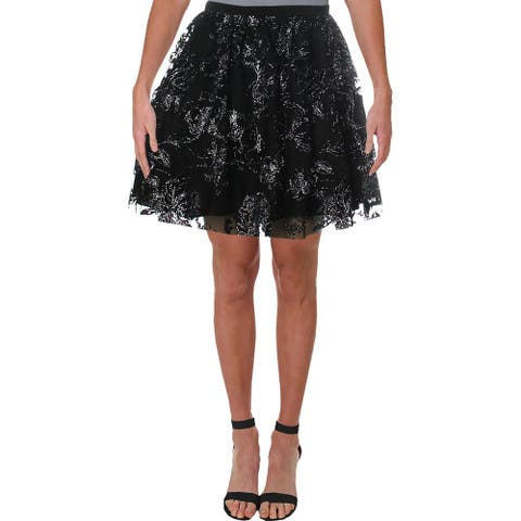 Blondie Nites Womens Juniors A-Line Skirt Mesh Glitter - Black/Silver - 1