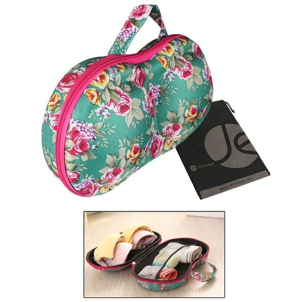 JAVOedge Flower Pattern Fabric Portable Travel Bra Protect Storage Organizer Case W/ Zipper Closure and Carrying Handle