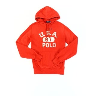 Polo Ralph Lauren NEW Red Mens Size Medium M Hooded Logo Graphic Sweater