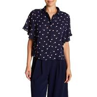 Elodie Blue Women's Size Large L Floral-Print Ruffled Blouse