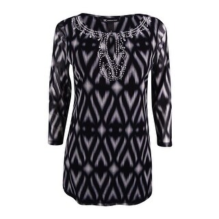 INC International Concepts Women's Embellished Mesh Tunic Top