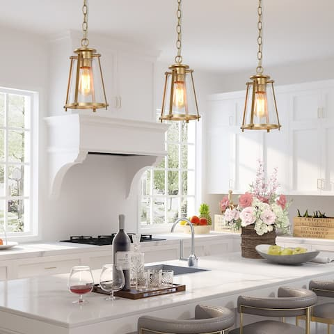 "Modern Glam Gold Pendant Lights for Kitchen Island Dining/ Living Room - W 7.5""x H 11"""