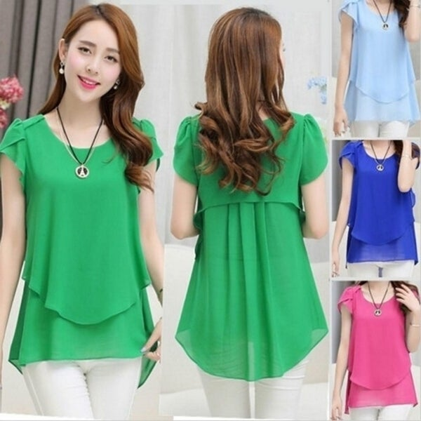 04d7ef9b4de9 Elegant Summer Plus size women chiffon blouses shirts o neck short sleeve  double irregular solid fashion