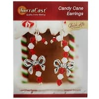 TierraCast Kit, Holiday Candy Cane Earrings 2 Inches, 1 Kit, Red, White, Antiqued Silver