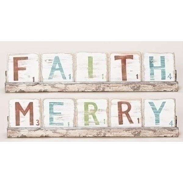 "6-Piece ""Merry or Faith"" Christmas Reversible Wall or Shelf Tile Sign 18"""
