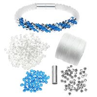 Refill - Deluxe Beaded Kumihimo Bracelet-Blue/Silver - Exclusive Beadaholique Jewelry Kit