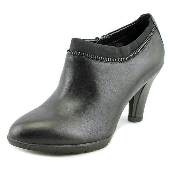 Anne Klein Dalayne Women Round Toe Leather Black Bootie