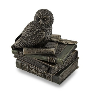 Owl Perched On Stack of Books Bronzed Trinket Box/Stash Box Statue