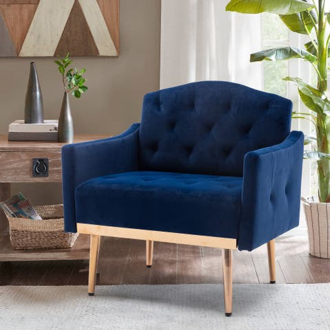 TiramisuBest Accent Chair Sofa with Rose Golden Feet,Navy Blue