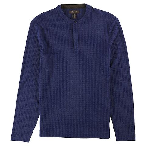 Tasso Elba Mens Textured Henley Shirt