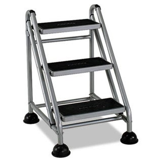 Rolling Commercial Step Stool, 3-Step, 26 3/5 Spread,