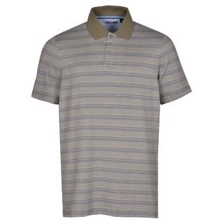 Tasso Elba Signature Polo Shirt Acorn Brown Combo Striped Ultra Soft