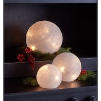 Pack of 2 White Decorative LED Frosted Globes 8""