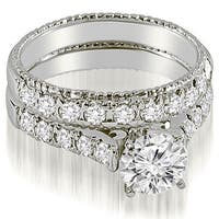 1.75 CT.TW Vintage Cathedral Round Cut Diamond Bridal Set - White H-I