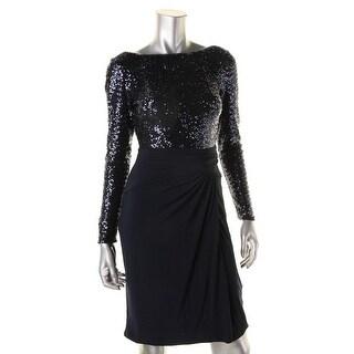 Lauren Ralph Lauren Womens Tresera Sequined Long Sleeve Cocktail Dress