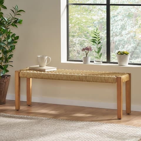 """Angie Indoor Modern Industrial Acacia Wood Bench by Christopher Knight Home - 43.25"""" W x 15.75"""" D x 16.25"""" H"""