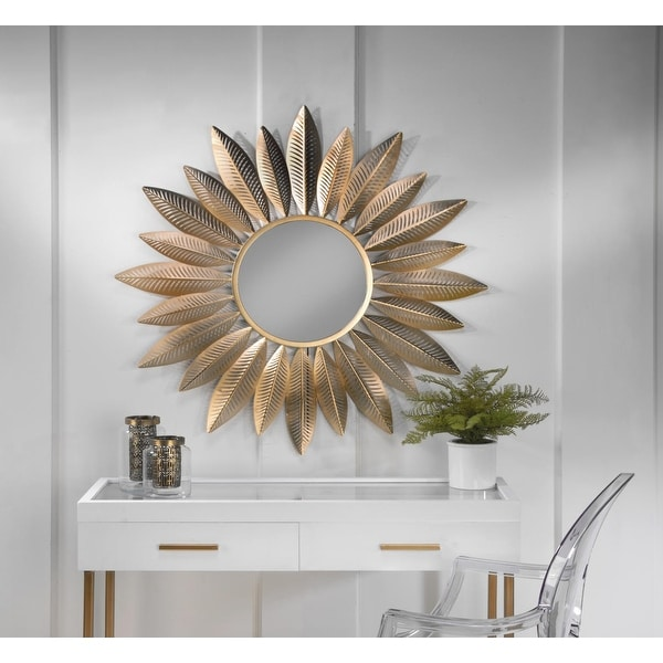 Gold Metal Starburst Feather Wall Mirror. Opens flyout.