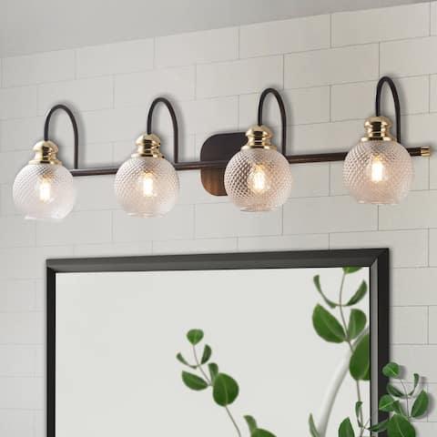 ExBrite 4-light Bathroom Gold Vanity Lights Modern Wall Sconce Lighting with Round Rippled Glass