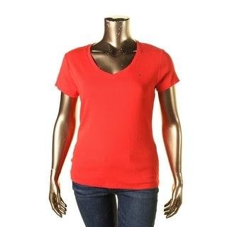 Tommy Hilfiger Womens V-Neck Short Sleeves Pullover Top