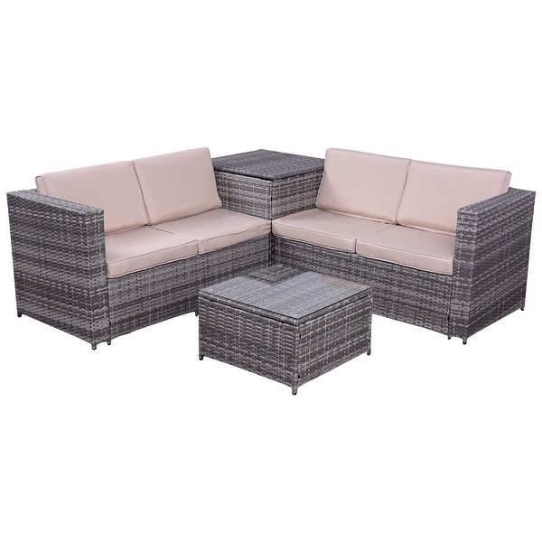 Costway 4PCS Patio Rattan Wicker Furniture Set Sofa Loveseat Cushioned  W Storage Box. Costway 4PCS Patio Rattan Wicker Furniture Set Sofa Loveseat