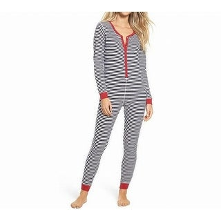 Make + Model NEW Blue Women Large L Thermal Stripe One Piece Sleepwear