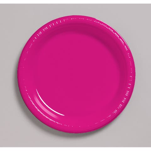 "Touch Of Color 20 Count 10.25"" Heavy Duty Plastic Plates Hot Magenta - Multi"