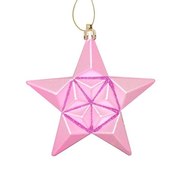 12ct Matte Bubblegum Pink Glittered Star Shatterproof Christmas Ornaments 5""