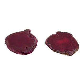 Pink Polished Brazilian Agate Slice Natural Edge Stone Coaster