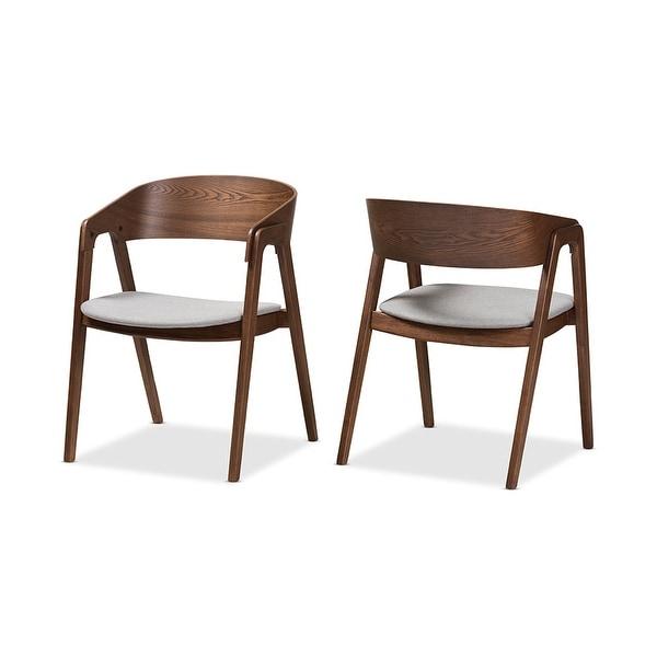 dining room chairs mid century modern | Shop Tatum Mid-Century Walnut Wood Light Grey Fabric ...