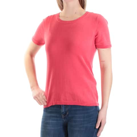 CHARTER CLUB Womens Coral Fits Like A Medium Short Sleeve Jewel Neck Sweater Size: XXL