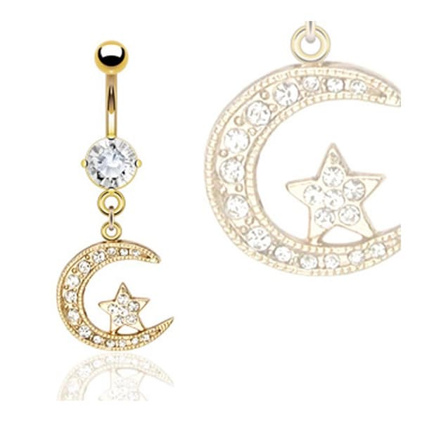 "Gold Plated Moon & Star Navel Belly Button Ring with CZ - 14GA 3/8"" Long"
