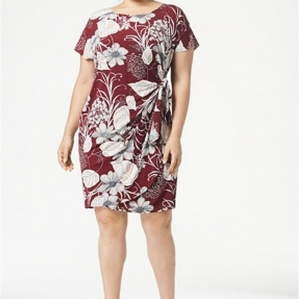 Signature by Robbie Bee Red Womens Size 3X Plus Floral Sheath Dress
